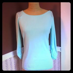 Express Teal Grommet 3/4 Sleeve Sweater Size M